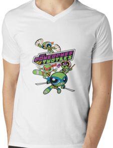 Powerpuff Girls and Teenage Mutant Ninja Turtles Mens V-Neck T-Shirt