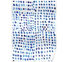 Blue Watercolor Dots Poster