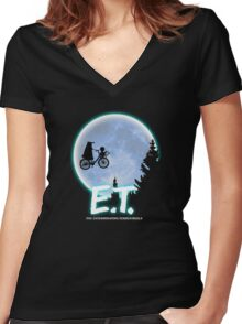 Exterminating Terrestrials Women's Fitted V-Neck T-Shirt