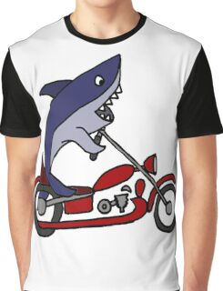 Cool Funny Blue Shark on Red Motorcycle Graphic T-Shirt