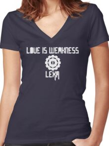 Love is weakness Women's Fitted V-Neck T-Shirt