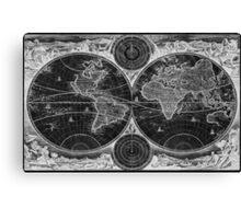 World Map (1730) Black & White Canvas Print