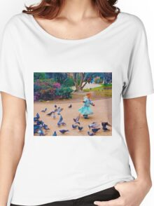 Girl Dancing With Pigeons Women's Relaxed Fit T-Shirt