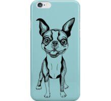black and white Smiling dog Boston Terrier  iPhone Case/Skin