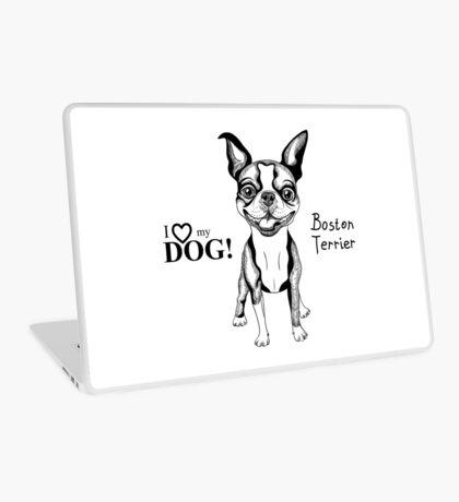 black and white Smiling dog Boston Terrier  Laptop Skin