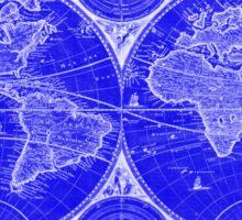 World Map (1730) Blue & White Sticker
