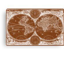 World Map (1730) Brown & White Canvas Print