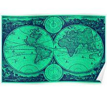 World Map (1730) Light Green & Blue Poster