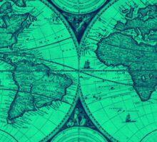 World Map (1730) Light Green & Blue Sticker