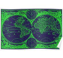 World Map (1730) Dark Blue & Green Poster