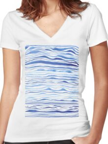 blue lines in watercolor Women's Fitted V-Neck T-Shirt