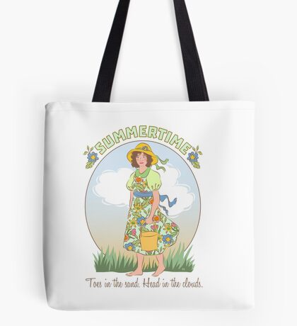 Summertime Toes in Sand Head in Clouds Beach Girl Tote Bag