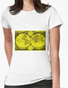 World Map (1730) Yellow & Black Womens Fitted T-Shirt