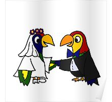 Cool Funny Parrot Birds Bride and Groom Art Poster