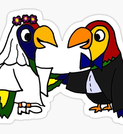 Cool Funny Parrot Birds Bride and Groom Art Sticker