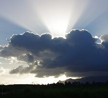 Crocodile Clouds, Sunrays and Mt.Bartle Frere, FNQ. by Kerryn Madsen-Pietsch