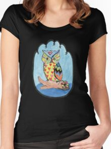 Love Owl on a Log Women's Fitted Scoop T-Shirt