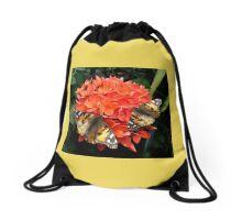 Dancing wings on pretty orange petals Drawstring Bag