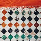 Orange Carpet on Moroccan Tiled Floor by visualspectrum
