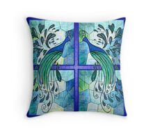 Peacock Design -Stainglass.. Throw Pillow