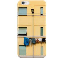 Laundry Drying on Washing Line Against Yellow Building Facade in Italy iPhone Case/Skin