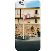 Yellow Residential Building in Italy With Drying Laundry on Washing Line iPhone Case/Skin