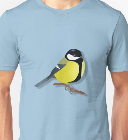 A black tit songbird sitting on a branch Unisex T-Shirt