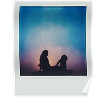 Polaroid of Mother and Child Sitting on Camper Van Roof Poster