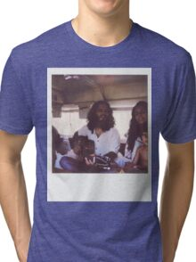 Polaroid of Young Hippie Family of Three Singing Inside Camper Van Tri-blend T-Shirt