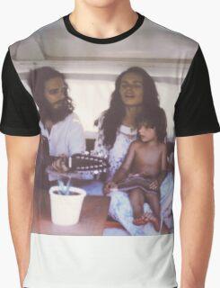Polaroid of Young Hippie Family Singing Inside Camper Van Graphic T-Shirt