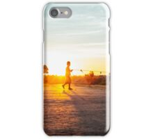 Silhouette of Boy Leading Cattle Across Road at Sunset in Burmese Countryside iPhone Case/Skin