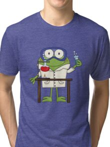 Frog Doing Science Experiments in Laboratory Tri-blend T-Shirt