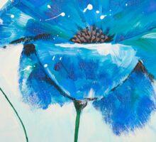 Blue poppy acrylic painting Sticker