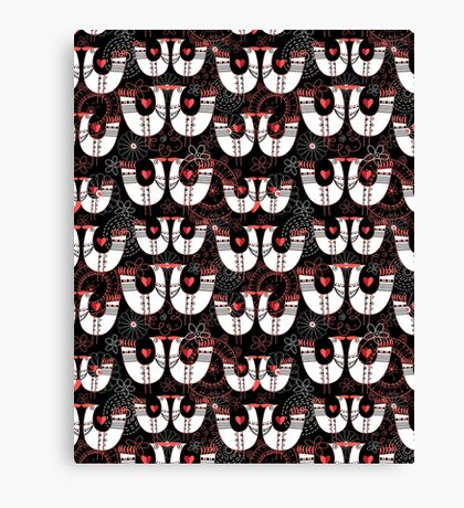 Seamless pattern with birds in love hearts Canvas Print