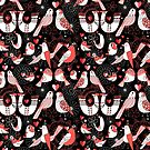 Seamless pattern with birds in love hearts by Tanor