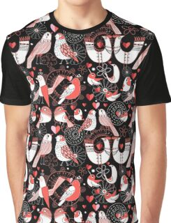 Seamless pattern with birds in love hearts Graphic T-Shirt