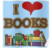 I Love Heart Books Reading Awareness Poster