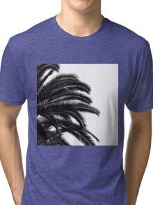 Palm tree Leaf Monochrom Half Black Photography Tri-blend T-Shirt