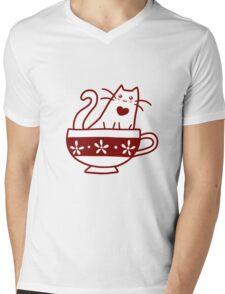 Teacup Kitty Mens V-Neck T-Shirt