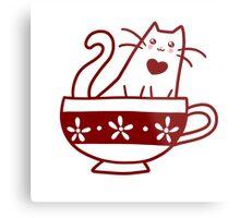 Teacup Kitty Metal Print
