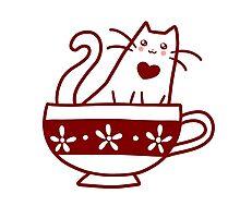 Teacup Kitty Photographic Print