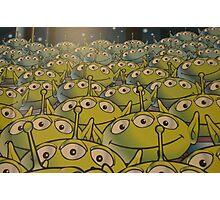 Little Green Men Friendly 3 Eyed Aliens  Photographic Print