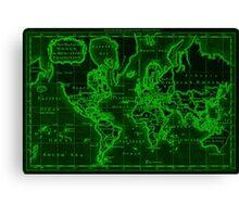 World Map (1766) Black & Green Canvas Print