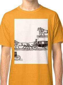 Old carriage, horses, vintage vehicle, steampunk illustration Classic T-Shirt