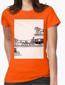 Old carriage, horses, vintage vehicle, steampunk illustration Womens Fitted T-Shirt