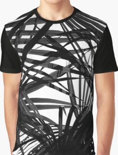 Light in Palm leaves Black and White Pattern Graphic T-Shirt
