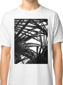 Light in Palm leaves Black and White Pattern Classic T-Shirt