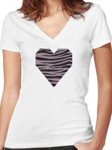 0442 Mountbatten Pink Tiger Women's Fitted V-Neck T-Shirt