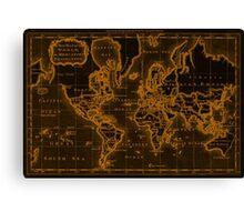 World Map (1766) Black & Orange Canvas Print