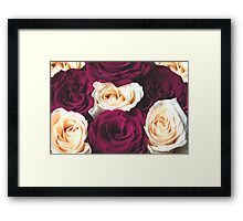 Red and yellow floral natural roses background Framed Print